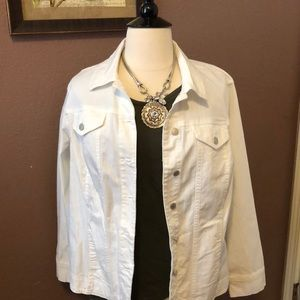Plus size 2X white denim jacket. NWOT